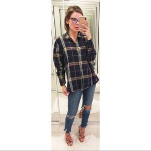 Madewell Oversize Ex-Boyfriend Plaid Shirt Green